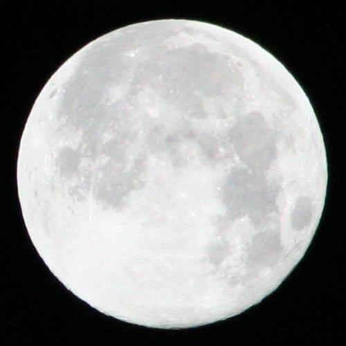Mit einer Verschlusszeit von 1/1000 wirkt der Mond sehr hell, allerdings kann man Details nur schwer erkennen