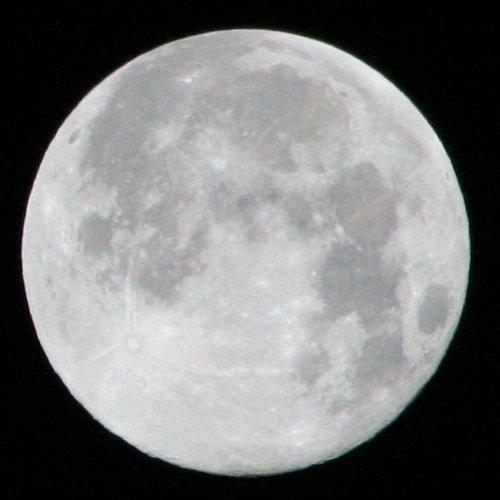 Mit einer Verschlusszeit von 1/1600 wirkt der Mond etwas dunkler, dafür sind große Krater schon erkennbar